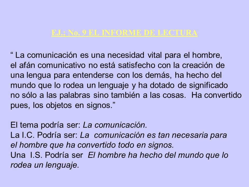 EJ.; No. 9 EL INFORME DE LECTURA La comunicación es una necesidad vital para el hombre, el afán comunicativo no está satisfecho con la creación de una