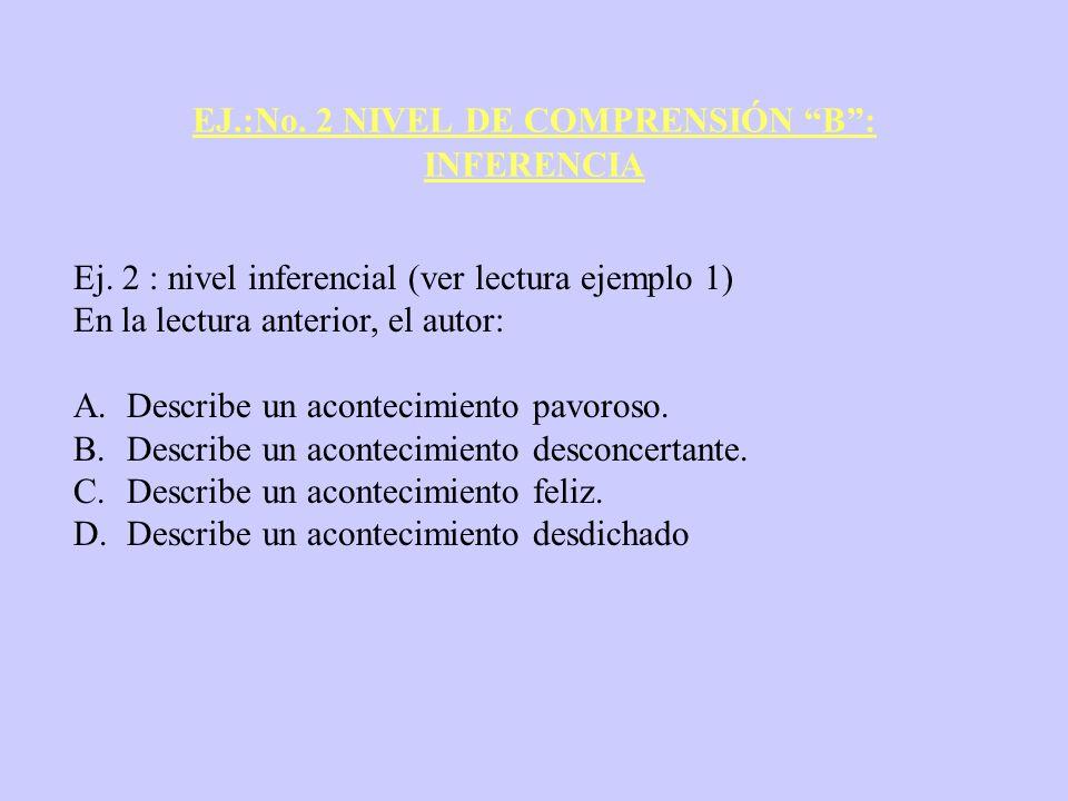 EJ.:No. 2 NIVEL DE COMPRENSIÓN B: INFERENCIA Ej. 2 : nivel inferencial (ver lectura ejemplo 1) En la lectura anterior, el autor: A.Describe un acontec
