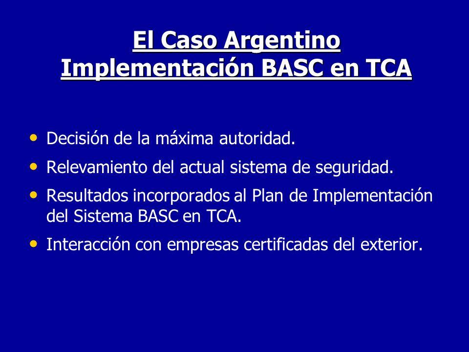 El Caso Argentino Implementación BASC en TCA Decisión de la máxima autoridad. Relevamiento del actual sistema de seguridad. Resultados incorporados al