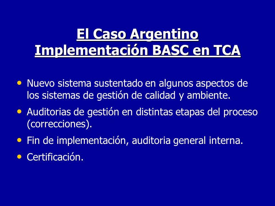 El Caso Argentino Implementación BASC en TCA Nuevo sistema sustentado en algunos aspectos de los sistemas de gestión de calidad y ambiente. Auditorias