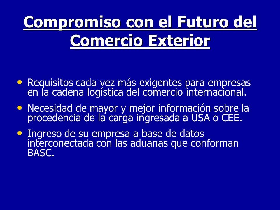 Compromiso con el Futuro del Comercio Exterior Requisitos cada vez más exigentes para empresas en la cadena logística del comercio internacional. Nece