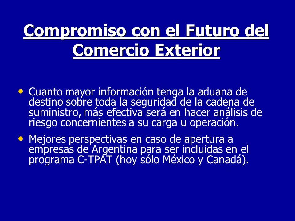 Compromiso con el Futuro del Comercio Exterior Cuanto mayor información tenga la aduana de destino sobre toda la seguridad de la cadena de suministro,