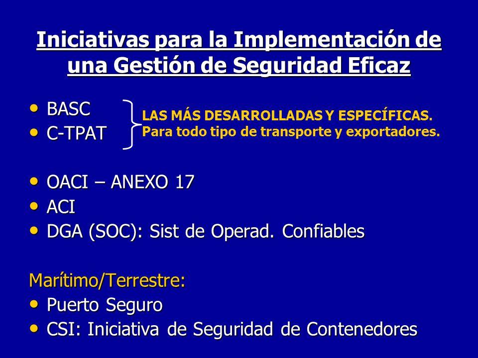 Iniciativas para la Implementación de una Gestión de Seguridad Eficaz BASC BASC C-TPAT C-TPAT OACI – ANEXO 17 OACI – ANEXO 17 ACI ACI DGA (SOC): Sist