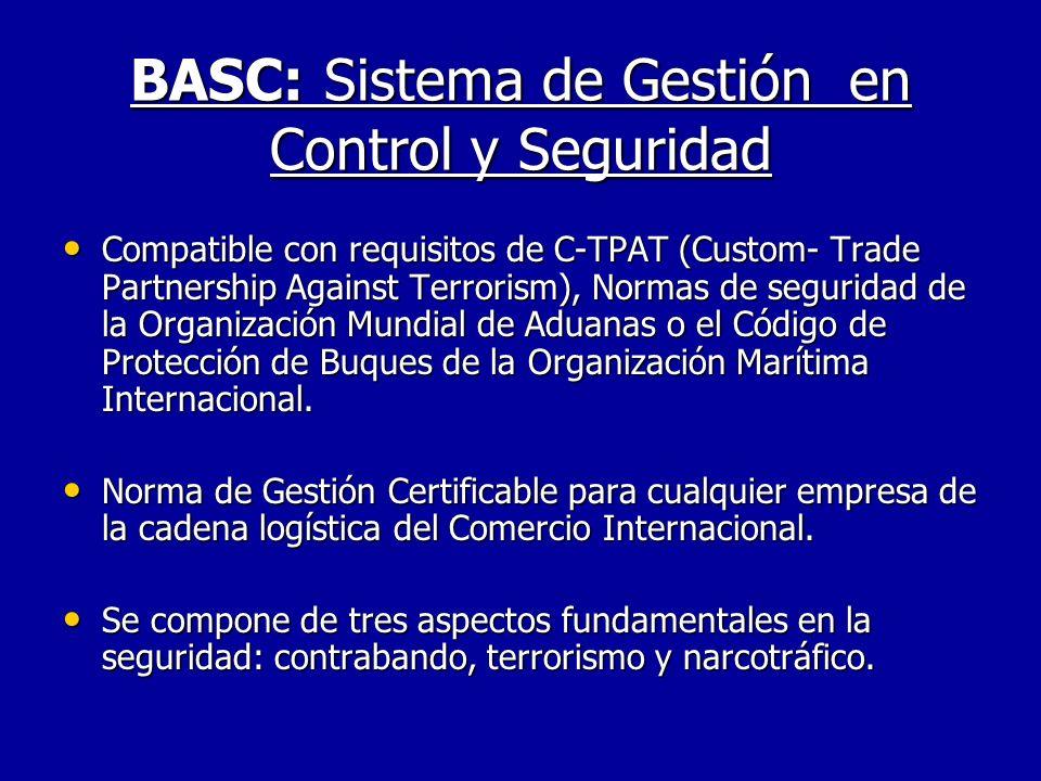 BASC: Sistema de Gestión en Control y Seguridad Compatible con requisitos de C-TPAT (Custom- Trade Partnership Against Terrorism), Normas de seguridad