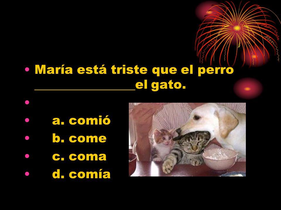 María está triste que el perro ________________el gato. a. comió b. come c. coma d. comía