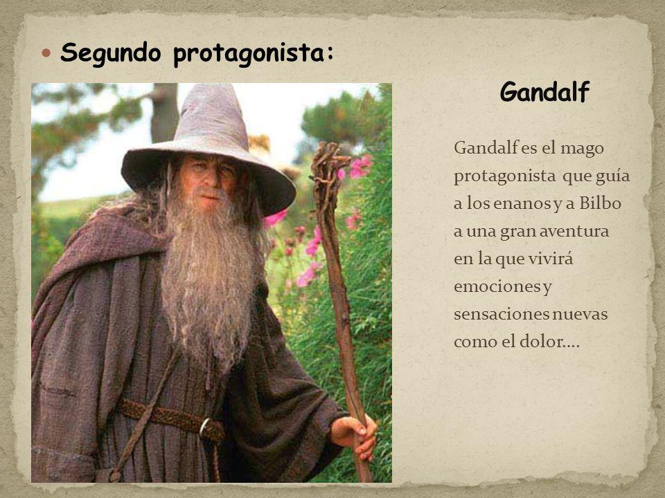 Segundo protagonista: Gandalf es el mago protagonista que guía a los enanos y a Bilbo a una gran aventura en la que vivirá emociones y sensaciones nue