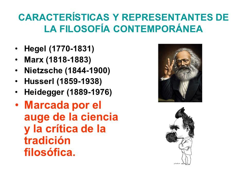 CARACTERÍSTICAS Y REPRESENTANTES DE LA FILOSOFÍA CONTEMPORÁNEA Hegel (1770-1831) Marx (1818-1883) Nietzsche (1844-1900) Husserl (1859-1938) Heidegger