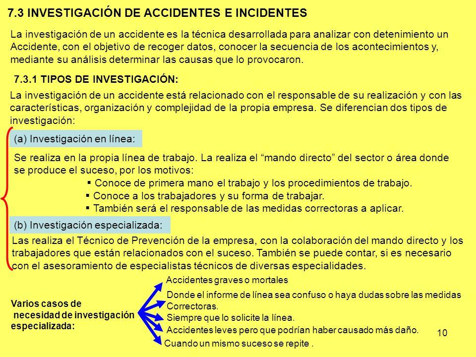 10 7.3 INVESTIGACIÓN DE ACCIDENTES E INCIDENTES La investigación de un accidente es la técnica desarrollada para analizar con detenimiento un Accident