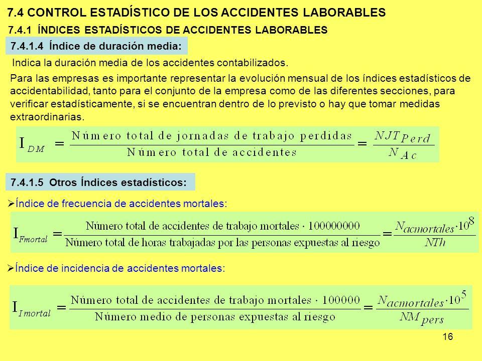 16 7.4.1 ÍNDICES ESTADÍSTICOS DE ACCIDENTES LABORABLES 7.4 CONTROL ESTADÍSTICO DE LOS ACCIDENTES LABORABLES 7.4.1.4 Índice de duración media: Indica l