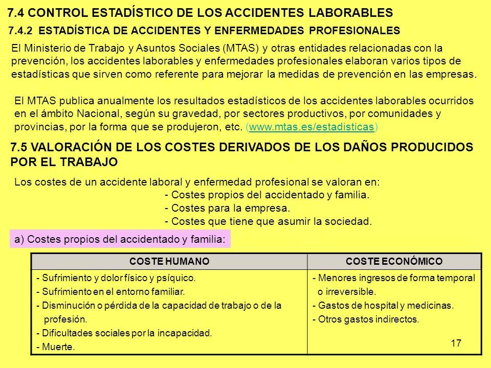 17 7.4.2 ESTADÍSTICA DE ACCIDENTES Y ENFERMEDADES PROFESIONALES 7.4 CONTROL ESTADÍSTICO DE LOS ACCIDENTES LABORABLES El Ministerio de Trabajo y Asunto