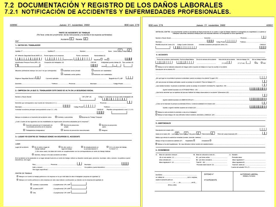 6 7.2.1 NOTIFICACIÓN DE ACCIDENTES Y ENFERMEDADES PROFESIONALES. 7.2 DOCUMENTACIÓN Y REGISTRO DE LOS DAÑOS LABORALES