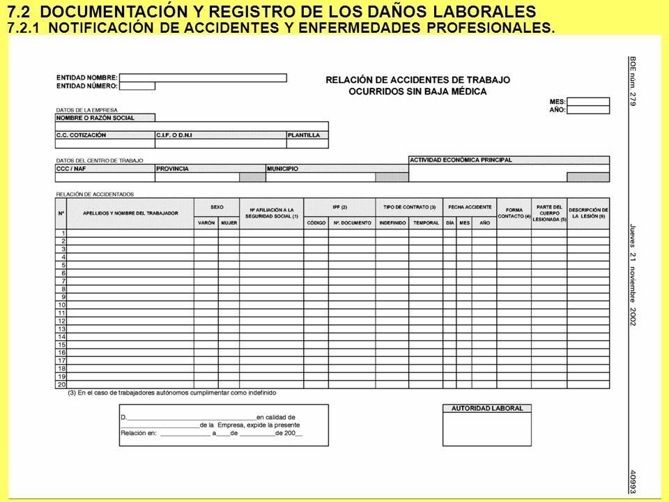 7 7.2.1 NOTIFICACIÓN DE ACCIDENTES Y ENFERMEDADES PROFESIONALES. 7.2 DOCUMENTACIÓN Y REGISTRO DE LOS DAÑOS LABORALES