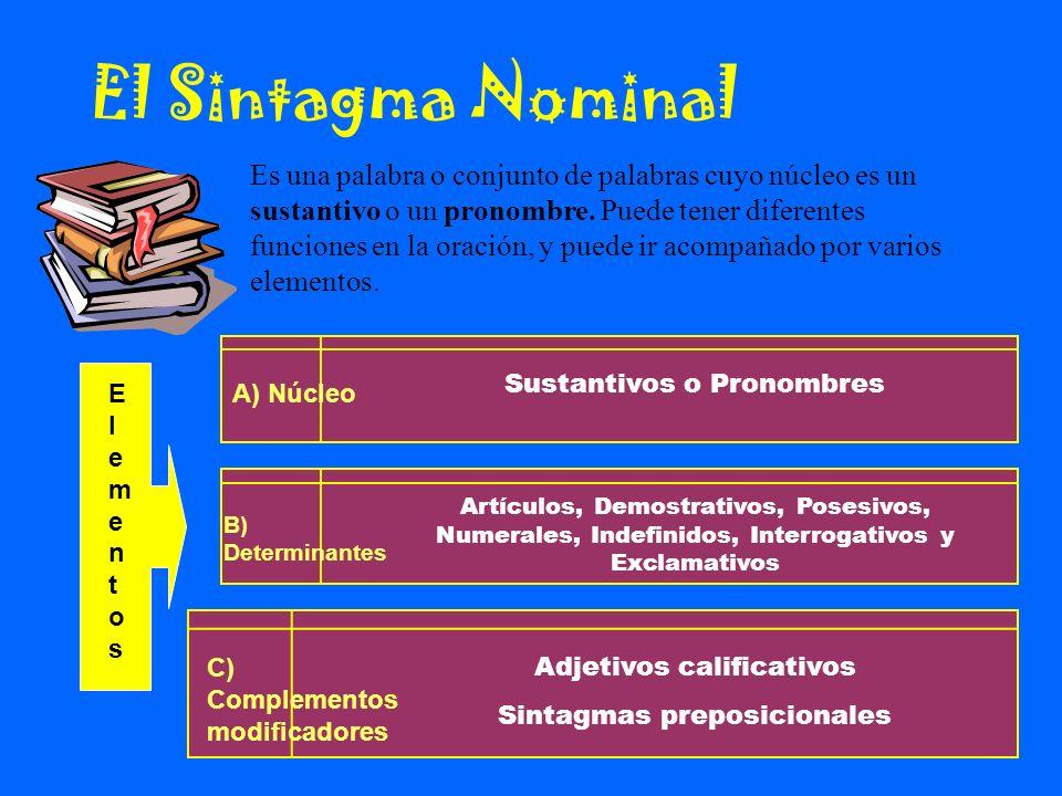 El Sintagma Nominal Es una palabra o conjunto de palabras cuyo núcleo es un sustantivo o un pronombre. Puede tener diferentes funciones en la oración,