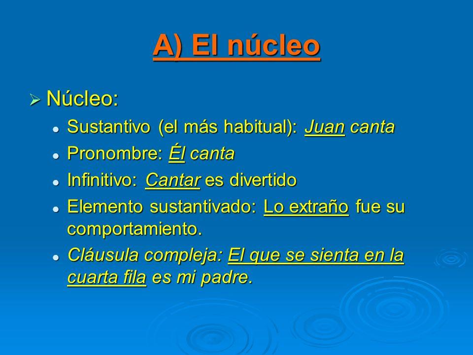 A) El núcleo Núcleo: Sustantivo (el más habitual): Juan canta Pronombre: Él canta Infinitivo: Cantar es divertido Elemento sustantivado: Lo extraño fu