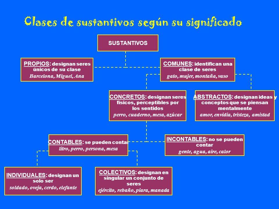 Clases de sustantivos según su significado SUSTANTIVOS PROPIOS: designan seres únicos de su clase Barcelona, Miguel, Ana COMUNES: identifican una clas