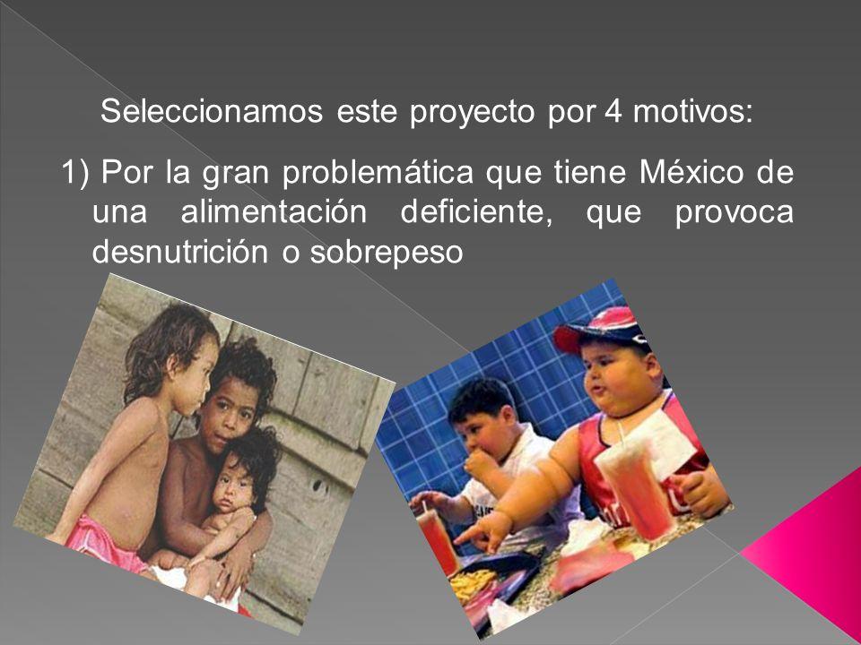 Seleccionamos este proyecto por 4 motivos: 1) Por la gran problemática que tiene México de una alimentación deficiente, que provoca desnutrición o sob