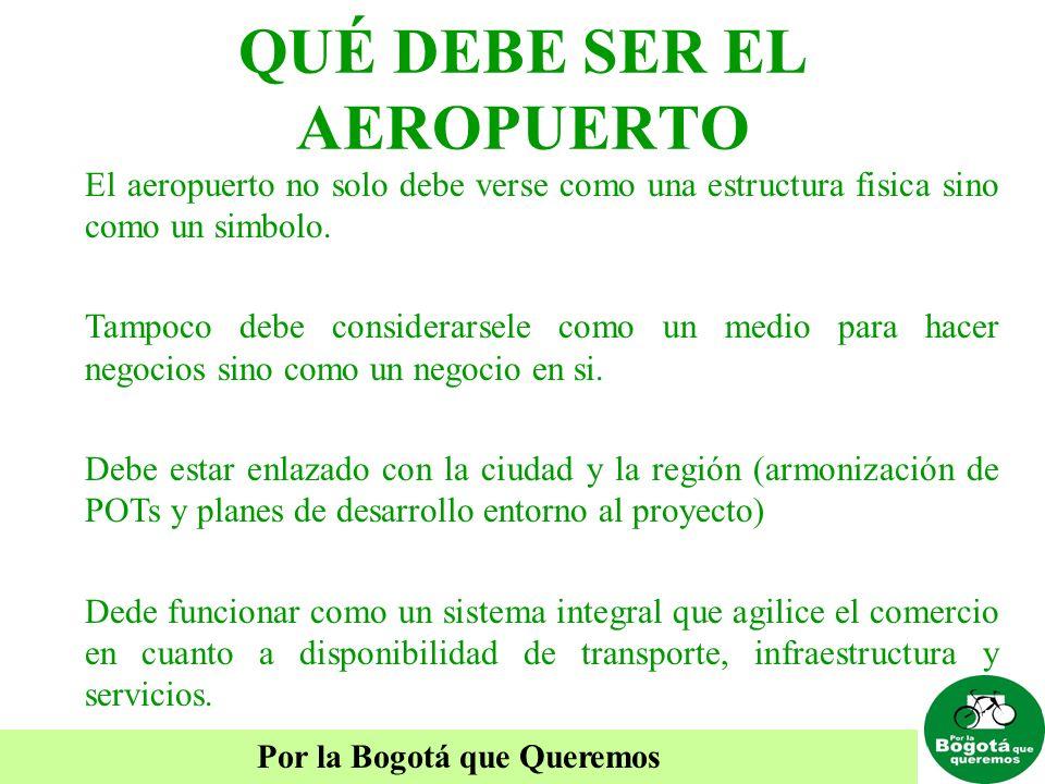 Por la Bogotá que Queremos QUÉ DEBE SER EL AEROPUERTO El aeropuerto no solo debe verse como una estructura fisica sino como un simbolo. Tampoco debe c