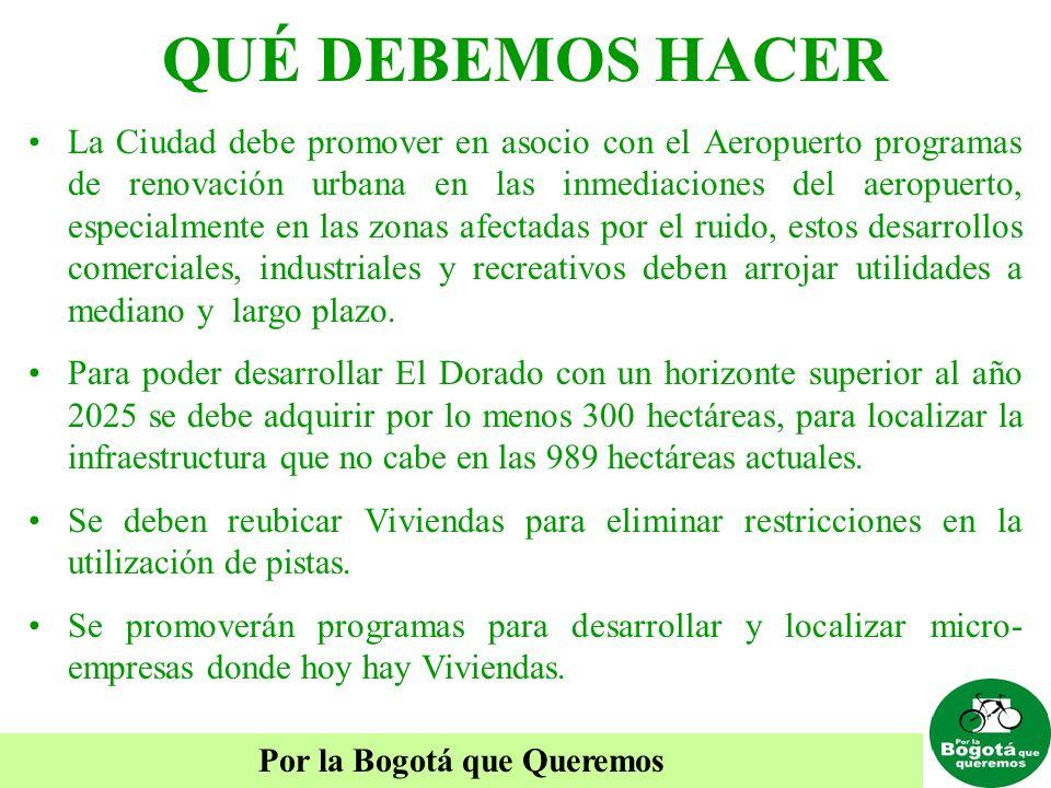 Por la Bogotá que Queremos QUÉ DEBEMOS HACER La Ciudad debe promover en asocio con el Aeropuerto programas de renovación urbana en las inmediaciones d