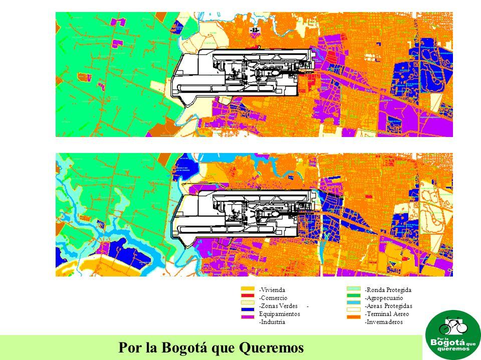 Por la Bogotá que Queremos -Vivienda -Comercio -Zonas Verdes - Equipamientos -Industria -Ronda Protegida -Agropecuario -Areas Protegidas -Terminal Aer