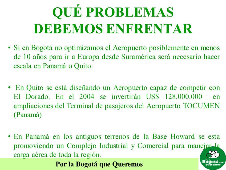 Por la Bogotá que Queremos QUÉ PROBLEMAS DEBEMOS ENFRENTAR Si en Bogotá no optimizamos el Aeropuerto posiblemente en menos de 10 años para ir a Europa