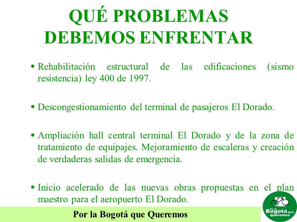 Por la Bogotá que Queremos QUÉ PROBLEMAS DEBEMOS ENFRENTAR Rehabilitación estructural de las edificaciones (sismo resistencia) ley 400 de 1997. Descon