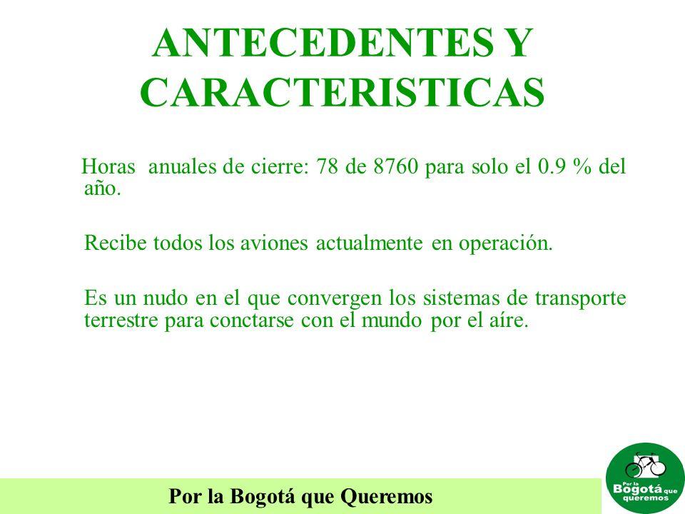 Por la Bogotá que Queremos ANTECEDENTES Y CARACTERISTICAS Horas anuales de cierre: 78 de 8760 para solo el 0.9 % del año. Recibe todos los aviones act
