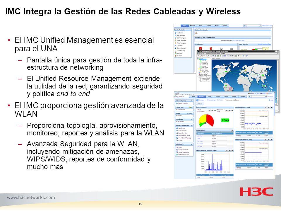 15 IMC Integra la Gestión de las Redes Cableadas y Wireless El IMC Unified Management es esencial para el UNA –Pantalla única para gestión de toda la