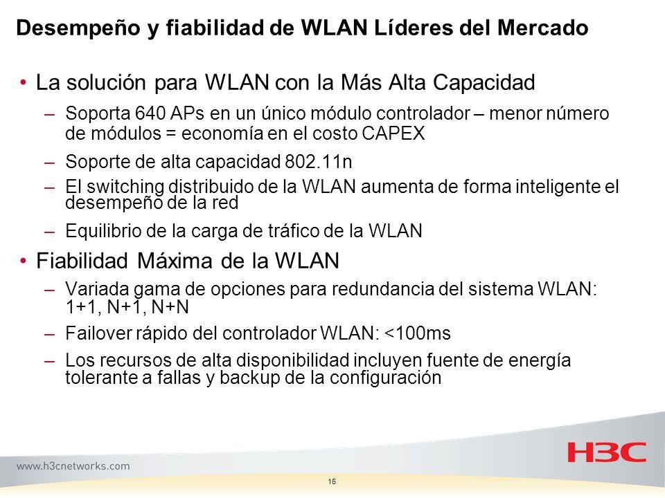 16 Desempeño y fiabilidad de WLAN Líderes del Mercado La solución para WLAN con la Más Alta Capacidad –Soporta 640 APs en un único módulo controlador