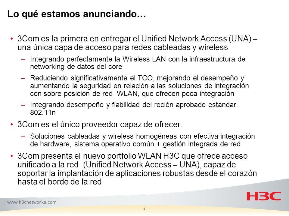 Lo qué estamos anunciando… 4 3Com es la primera en entregar el Unified Network Access (UNA) – una única capa de acceso para redes cableadas y wireless
