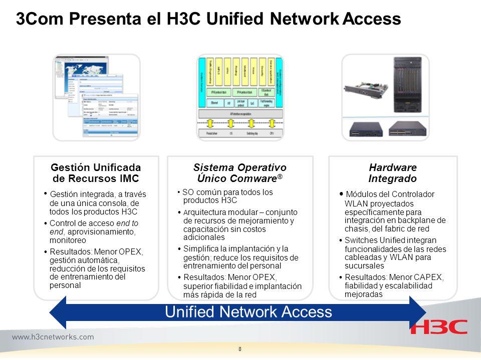 8 Gestión Unificada de Recursos IMC Gestión integrada, a través de una única consola, de todos los productos H3C Control de acceso end to end, aprovis