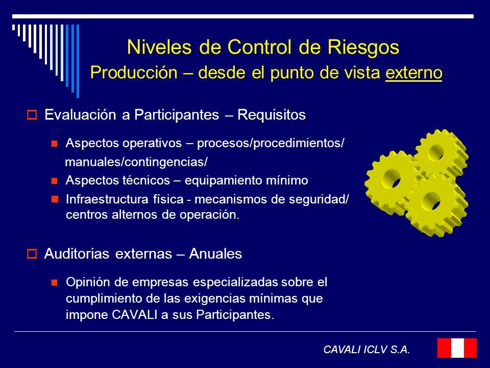 Niveles de Control de Riesgos Producción – desde el punto de vista externo CAVALI ICLV S.A. Evaluación a Participantes – Requisitos Aspectos operativo