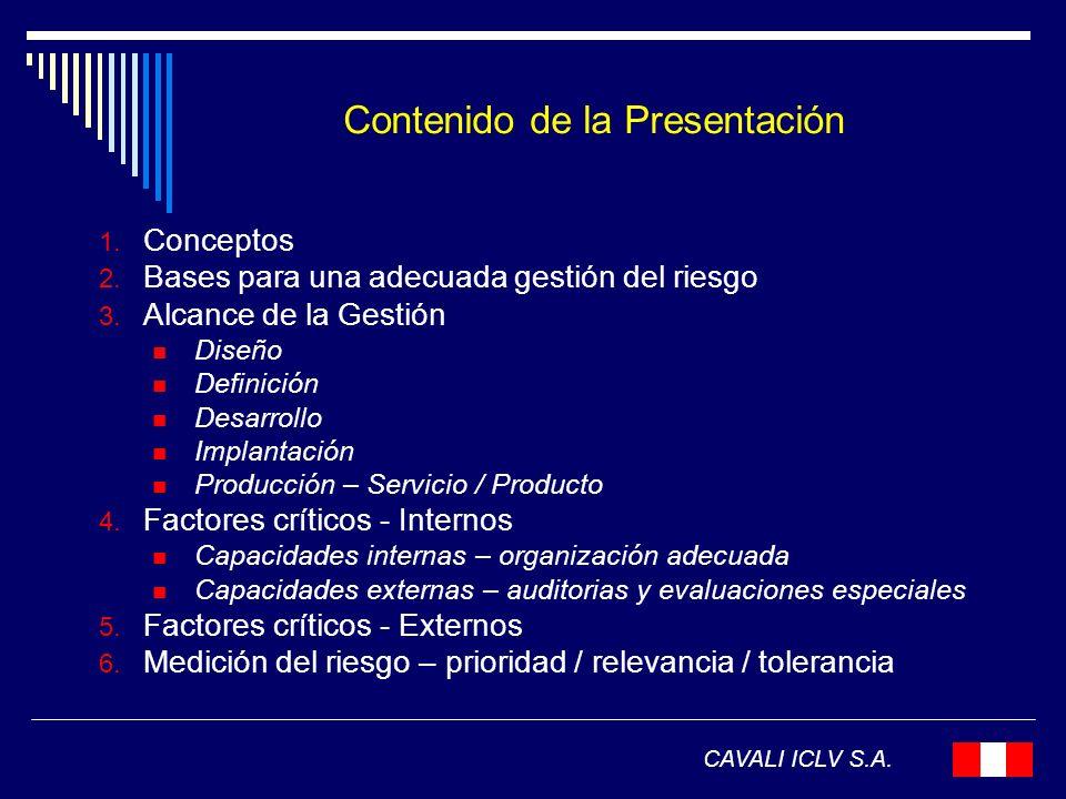 Contenido de la Presentación 1. Conceptos 2. Bases para una adecuada gestión del riesgo 3. Alcance de la Gestión Diseño Definición Desarrollo Implanta