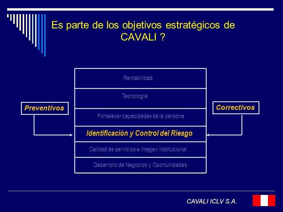 Es parte de los objetivos estratégicos de CAVALI ? CAVALI ICLV S.A. Rentabilidad Tecnología Fortalecer capacidades de la persona Desarrollo de Negocio