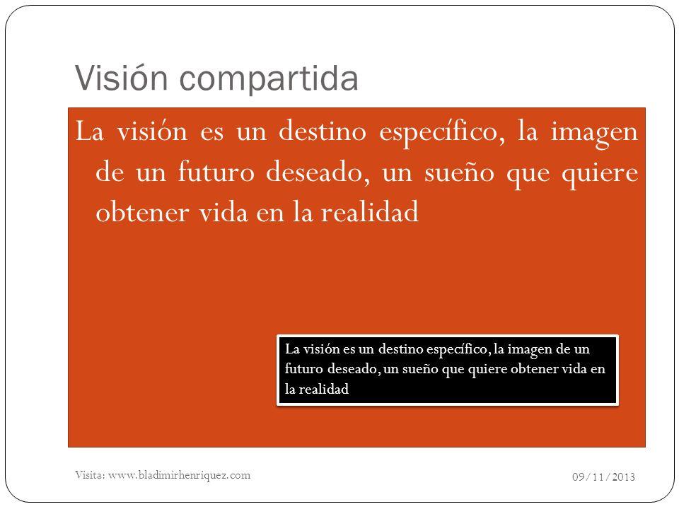 Visión compartida La visión es un destino específico, la imagen de un futuro deseado, un sueño que quiere obtener vida en la realidad 09/11/2013 La vi