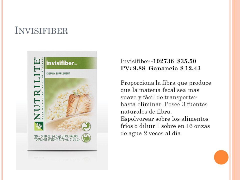 I NVISIFIBER Invisifiber - 102736 $35.50 PV: 9.88 Ganancia $ 12.43 Proporciona la fibra que produce que la materia fecal sea mas suave y fácil de tran