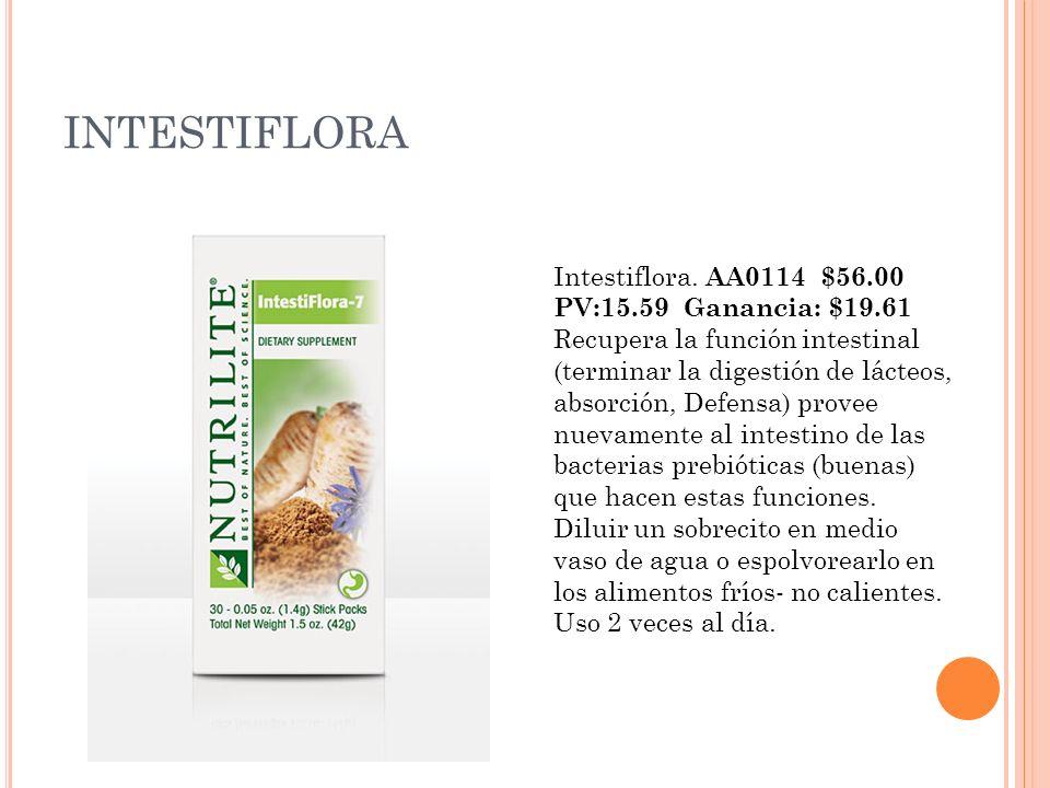 INTESTIFLORA Intestiflora. AA0114 $56.00 PV:15.59 Ganancia: $19.61 Recupera la función intestinal (terminar la digestión de lácteos, absorción, Defens