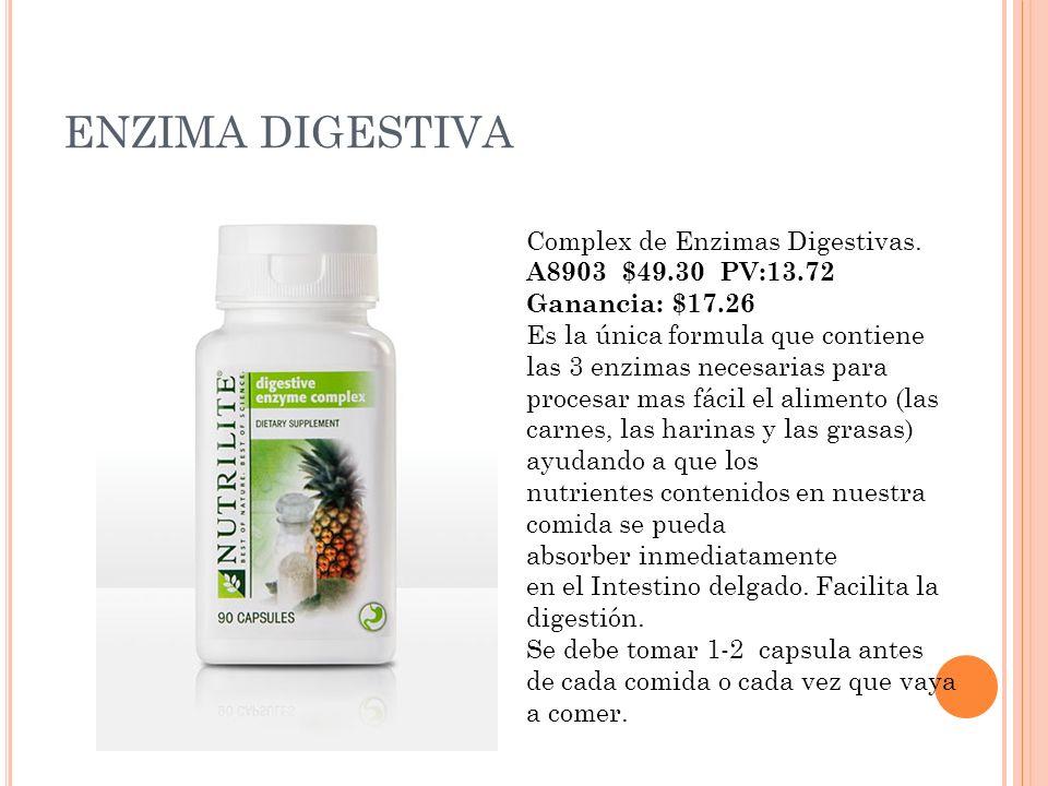 ENZIMA DIGESTIVA Complex de Enzimas Digestivas. A8903 $49.30 PV:13.72 Ganancia: $17.26 Es la única formula que contiene las 3 enzimas necesarias para