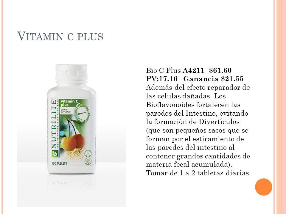 V ITAMIN C PLUS Bio C Plus A4211 $61.60 PV:17.16 Ganancia $21.55 Además del efecto reparador de las celulas dañadas. Los Bioflavonoides fortalecen las