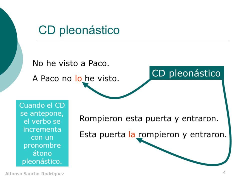 Alfonso Sancho Rodríguez 4 CD pleonástico No he visto a Paco. A Paco no lo he visto. Rompieron esta puerta y entraron. Esta puerta la rompieron y entr
