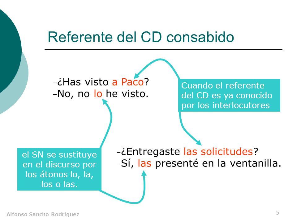 Alfonso Sancho Rodríguez 5 Referente del CD consabido – ¿Has visto a Paco? – No, no lo he visto. el SN se sustituye en el discurso por los átonos lo,