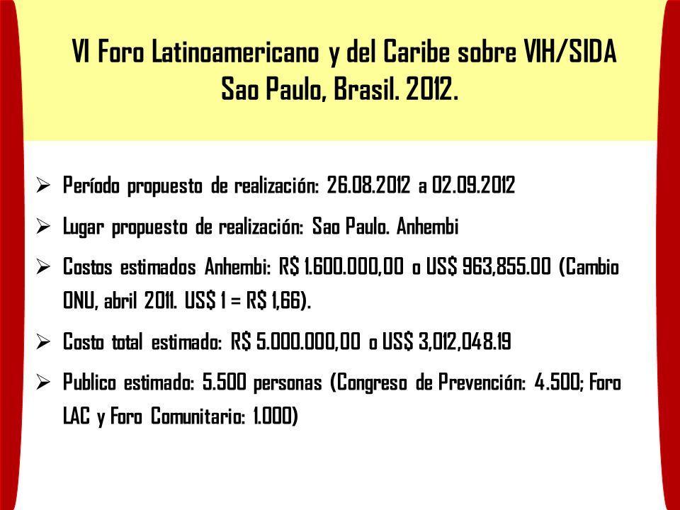 VI Foro Latinoamericano y del Caribe sobre VIH/SIDA Sao Paulo, Brasil. 2012. Período propuesto de realización: 26.08.2012 a 02.09.2012 Lugar propuesto