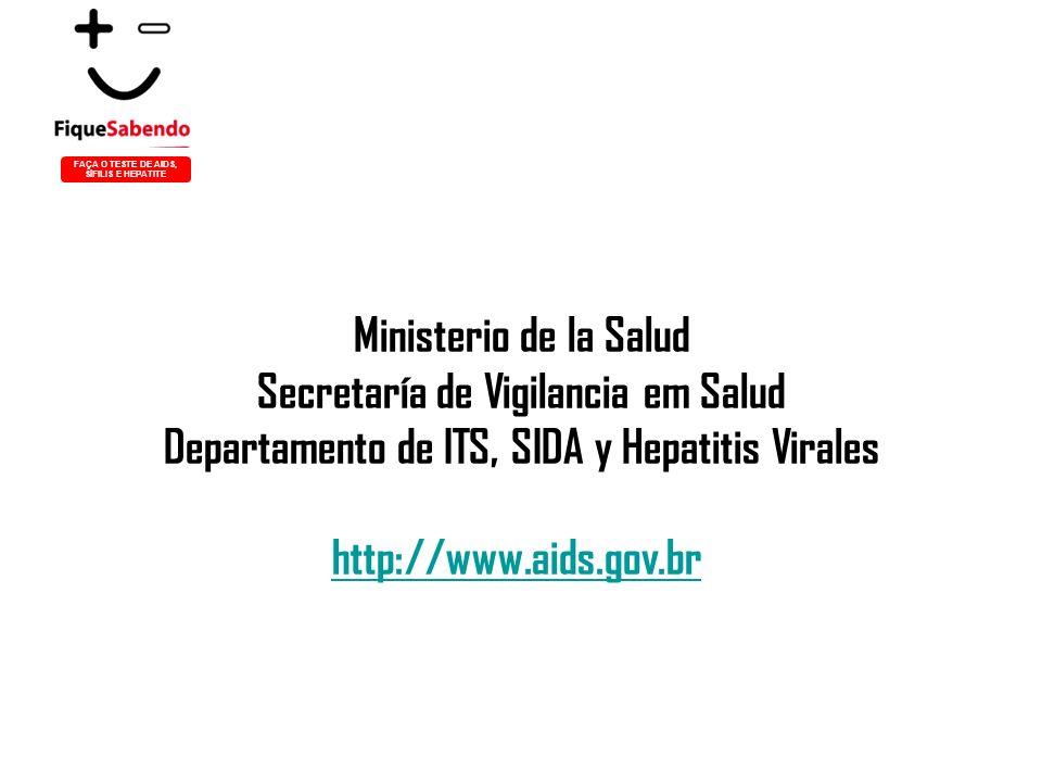 Ministerio de la Salud Secretaría de Vigilancia em Salud Departamento de ITS, SIDA y Hepatitis Virales http://www.aids.gov.br FAÇA O TESTE DE AIDS, SÍFILIS E HEPATITE