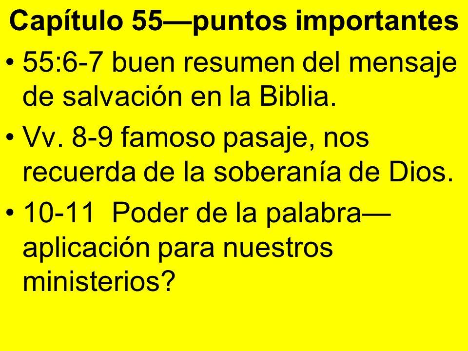 Capítulo 55puntos importantes 55:6-7 buen resumen del mensaje de salvación en la Biblia. Vv. 8-9 famoso pasaje, nos recuerda de la soberanía de Dios.