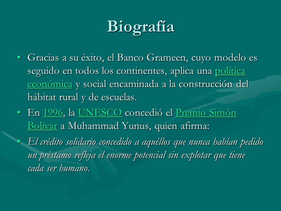 Yunnus: el revolucionario El revolucionario Muhammad Yunus ha exportado la fórmula Grameen a muchos sitios.