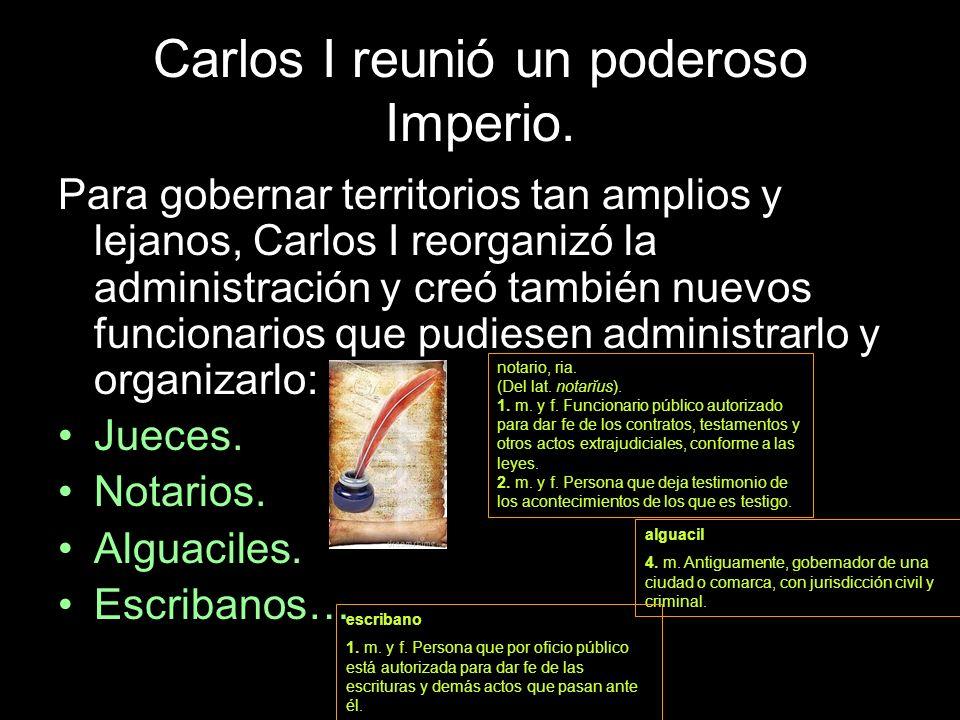 Para gobernar territorios tan amplios y lejanos, Carlos I reorganizó la administración y creó también nuevos funcionarios que pudiesen administrarlo y