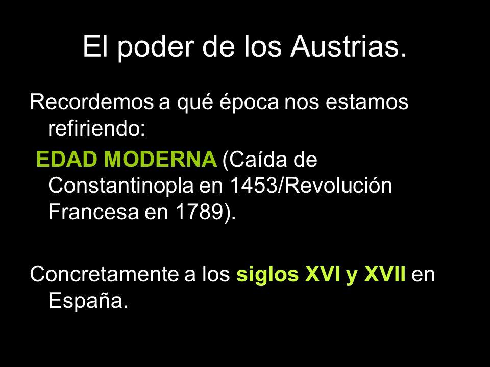 Recordemos a qué época nos estamos refiriendo: EDAD MODERNA (Caída de Constantinopla en 1453/Revolución Francesa en 1789). Concretamente a los siglos