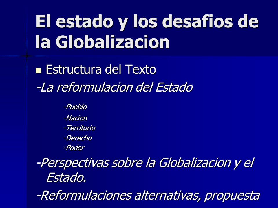 El estado y los desafios de la Globalizacion Estructura del Texto Estructura del Texto -La reformulacion del Estado -Pueblo-Nacion-Territorio-Derecho-