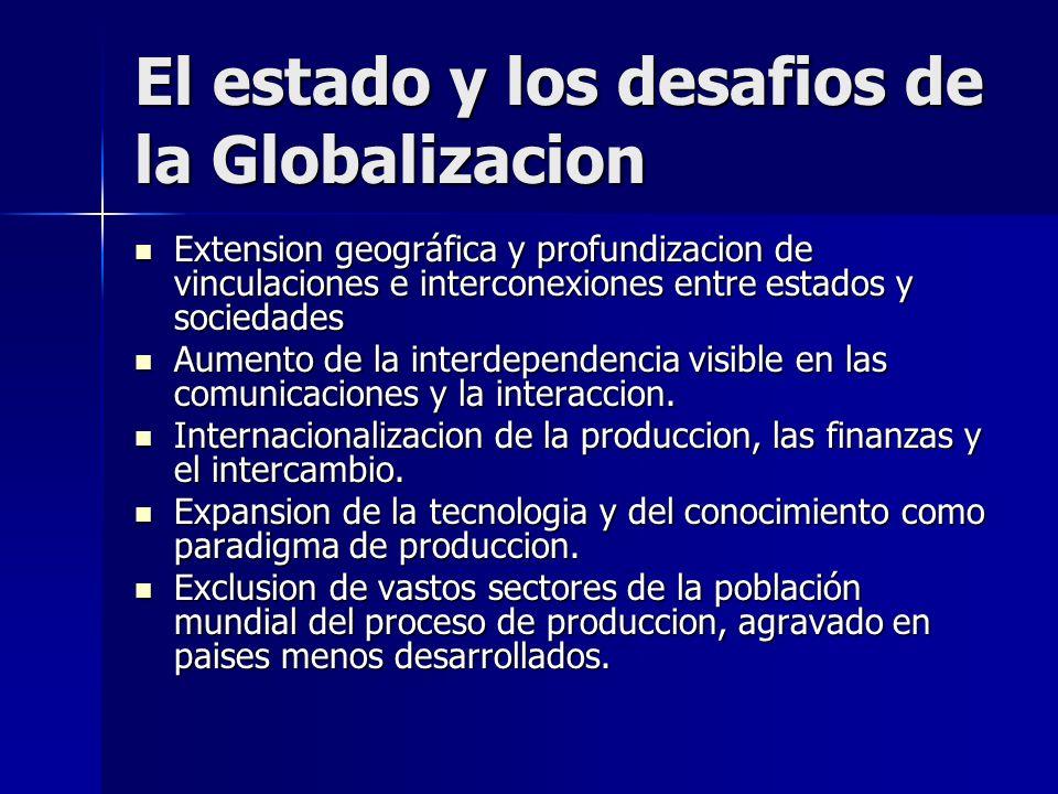 Globalización: hace referencia según las autoras a los procesos en virtud de los cuales los estados nacionales soberanos se entremezclan, imbrican e interrelacionan con los nuevos actores transnacionales.