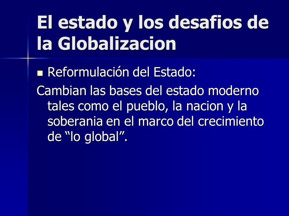 Reformulación del Estado: Reformulación del Estado: Cambian las bases del estado moderno tales como el pueblo, la nacion y la soberania en el marco de