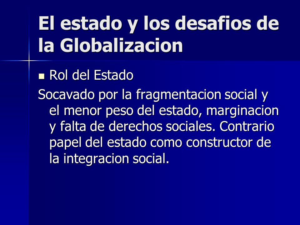 El estado y los desafios de la Globalizacion Rol del Estado Rol del Estado Socavado por la fragmentacion social y el menor peso del estado, marginacio